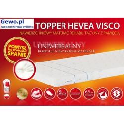 Materac Hevea Topper Visco 160x200 cm Nawierzchniowy Antyalergiczny Rehabilitacyjny + Mega Gratisy