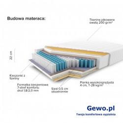 Materac JMB Multi 500 Classic H3 120x200 cm Kieszeniowy Piankowy Rehabilitacyjny 2 lata gwarancji + Mega Gratisy