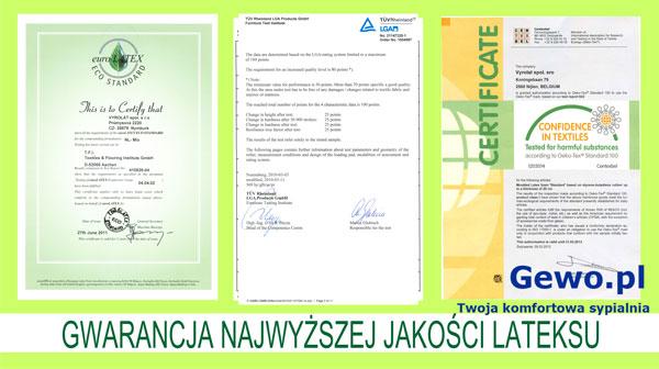 certyfikat jakości dla materaca do spania lateksowego Hevea Comfort Prestige