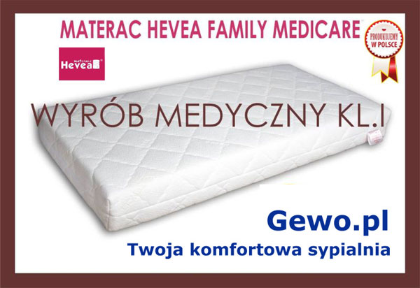 Materac lateksowy antyalergiczny Hevea family Medicare plus